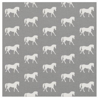 Grey Pony Fabric, Horse Fabric, Farm Animal Fabric