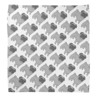 Grey Pug Dog Bandana
