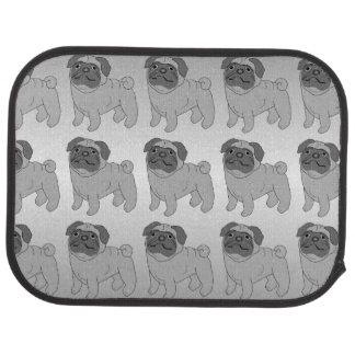Grey Pug Dog Design Car Carpet