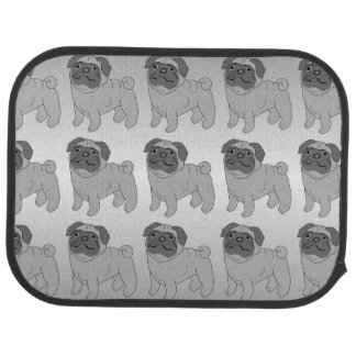 Grey Pug Dog Design Car Mat