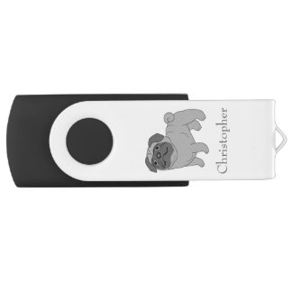 Grey Pug Dog Just Add Name USB Flash Drive