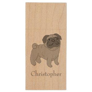 Grey Pug Dog Just Add Name Wood USB 2.0 Flash Drive