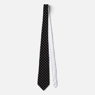 Grey Pug Silhouettes on Black Background Tie