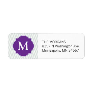 Grey & Purple Modern Chevron Custom Monogram Return Address Label