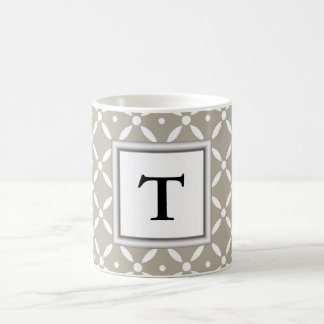 grey quatrefoil design with monogram initial coffee mug