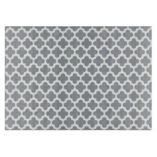 Grey Quatrefoil Glass Cutting Board