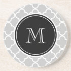 Grey Quatrefoil Pattern, Black Monogram Coaster