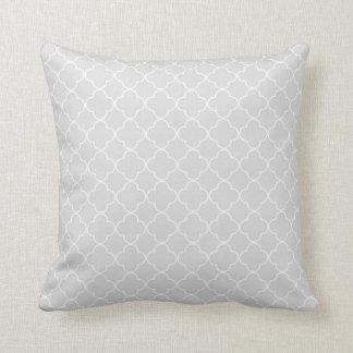 Grey Quatrefoil Pattern Decorative Pillow