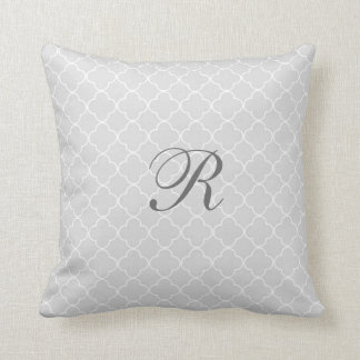 Grey Quatrefoil Pattern Monogram Pillow