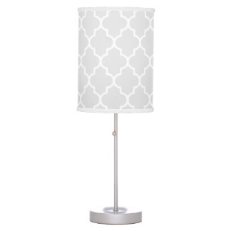 Grey Quatrefoil pattern Table Lamp