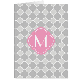 Grey Quatrefoil Pattern with Monogram Card