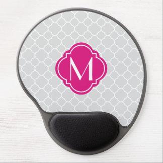 Grey Quatrefoil Pattern with Monogram Gel Mouse Pad