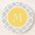 Grey Quatrefoil Pattern, Yellow Monogram Coaster