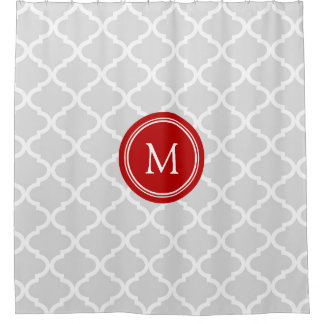 Grey Quatrefoil Red Monogram Shower Curtain