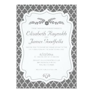 Grey Quatrefoil Wedding Invitations