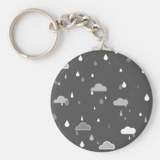 Grey Rains Basic Round Button Keychain