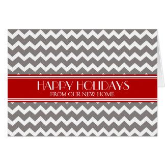 Grey Red Chevron Christmas New Address Card