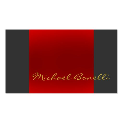 Grey Red Gold Color Writing Script Business Card