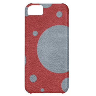 Grey & Red Scattered Spots in Leather print Cover For iPhone 5C