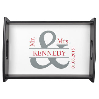 Grey Red White Newly Weds Custom Monogram Serving Tray