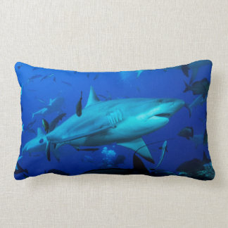 Grey Reef Shark on the Great Barrier Reef Lumbar Pillow