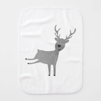 Grey Reindeer Illustration Burp Cloth
