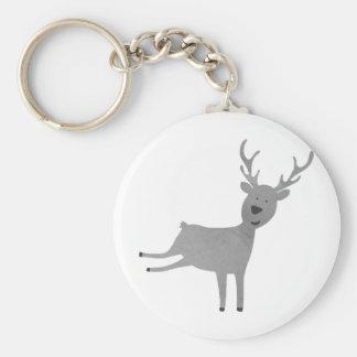 Grey Reindeer Illustration Keychain