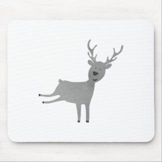Grey Reindeer Illustration Mouse Pad