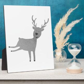 Grey Reindeer Illustration Plaque