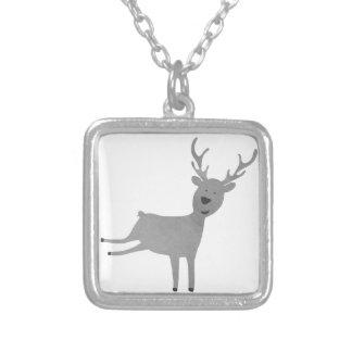Grey Reindeer Illustration Silver Plated Necklace