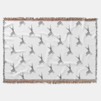 Grey Reindeer Illustration Throw Blanket