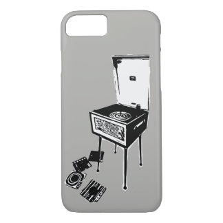 Grey Retro Record Player iPhone 7 Case
