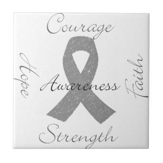 Grey ribbon brain cancer awareness tiles