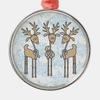 Grey Ribbon Reindeer (Diabetes) Silver-Colored Round Ornament