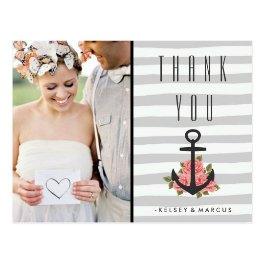Grey Romantic Nautical Wedding Thank You Photo Postcard