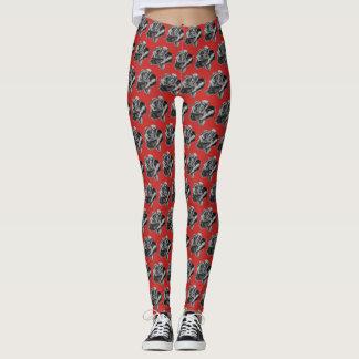 Grey Rose Patterned Leggings