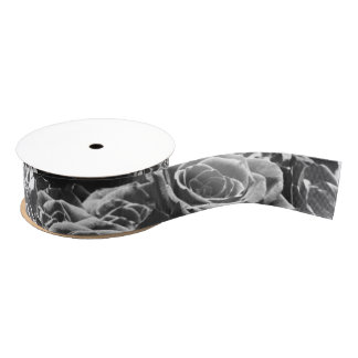 Grey Roses Grosgrain Ribbon