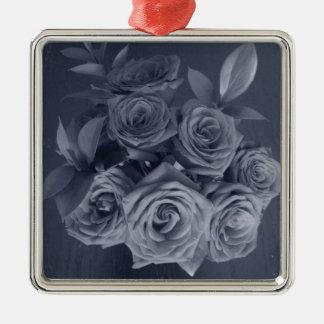 Grey Roses Silver-Colored Square Ornament