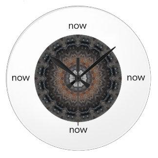 """Grey & Rust Silver Simplicity Mandala """"Now"""" Large Clock"""