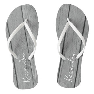 Grey Rustic Faux Wood Personalized Flip Flops