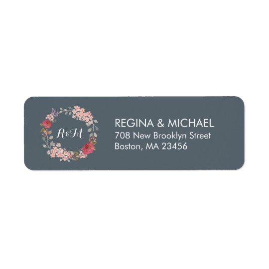 Grey Rustic Floral Wreath Monogram Address Label
