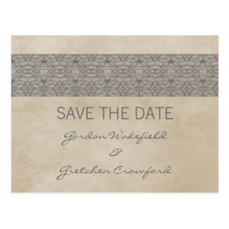 Grey Rustic Lace Save the Date Postcard