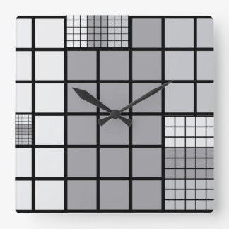 Grey scale abstract square wall clock