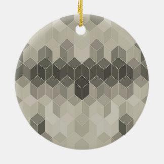 Grey Scale Cube Geometric Design Ceramic Ornament
