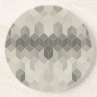 Grey Scale Cube Geometric Design Coaster