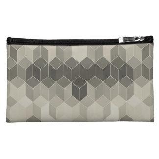 Grey Scale Cube Geometric Design Cosmetic Bag
