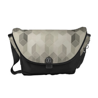 Grey Scale Cube Geometric Design Courier Bags
