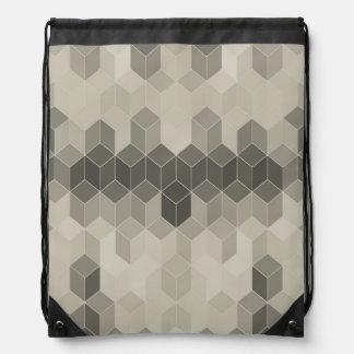Grey Scale Cube Geometric Design Drawstring Bag