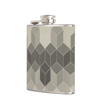 Grey Scale Cube Geometric Design Hip Flask