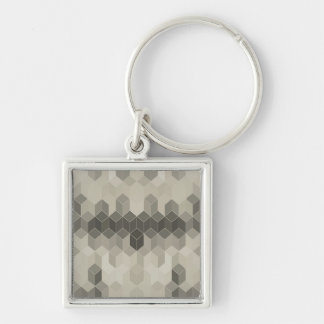 Grey Scale Cube Geometric Design Keychain